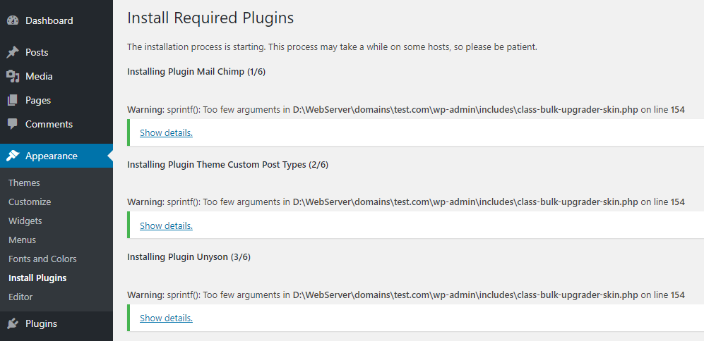 Solved – Warning: sprintf(): Too few arguments in class-bulk-upgrader-skin.php on line 154